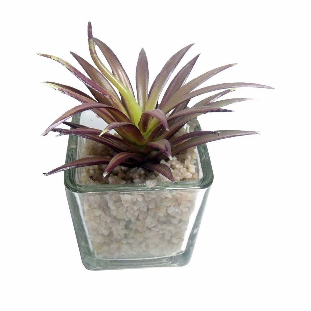 Suculenta Mini Planta Artificial Com Vaso Vidro Mudas Enfeite Festa (SH-6 MOD 1)