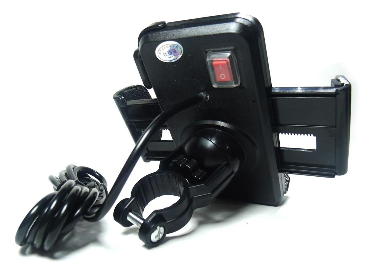 Suporte Com Usb Para Moto Motocicleta Carrega Celular Gps Smartphone (BSL-45765-1)