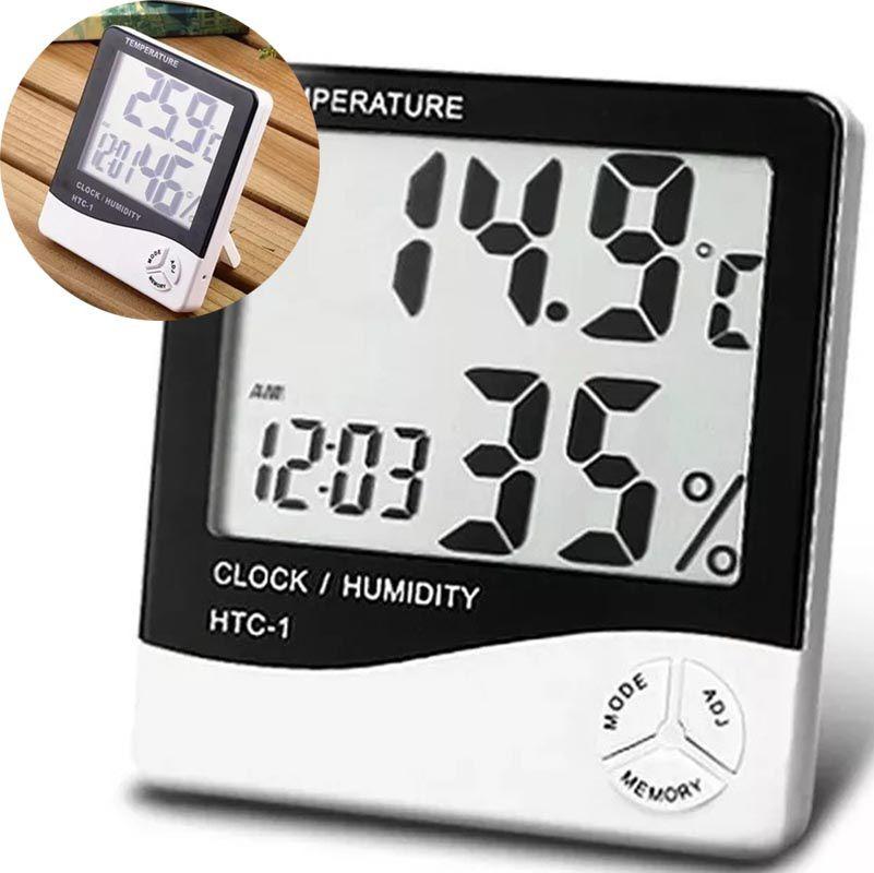 Termo Higrometro Digital Relogio Medidor Temperatura Humidade De Mesa (56192)