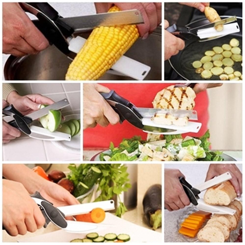 Tesoura de Alimento Faca Corta e Fatia Clever Cutter 2 em 1 (93190)