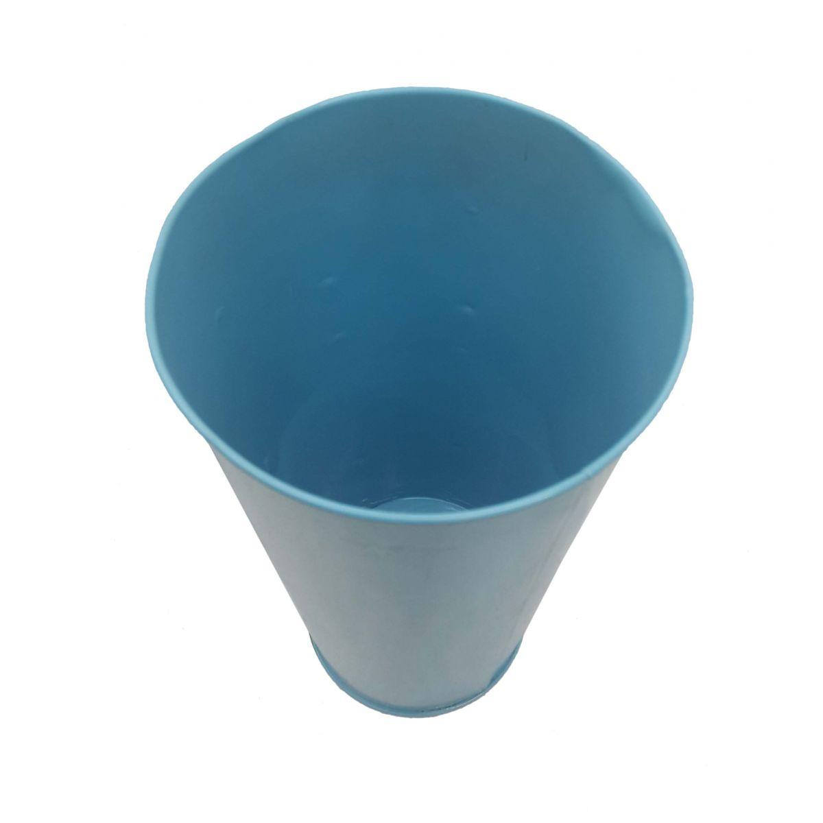 Vaso Metal Enfeite Jardim Quintal Varanda Borboleta Flor Azul (SYBO-G7)