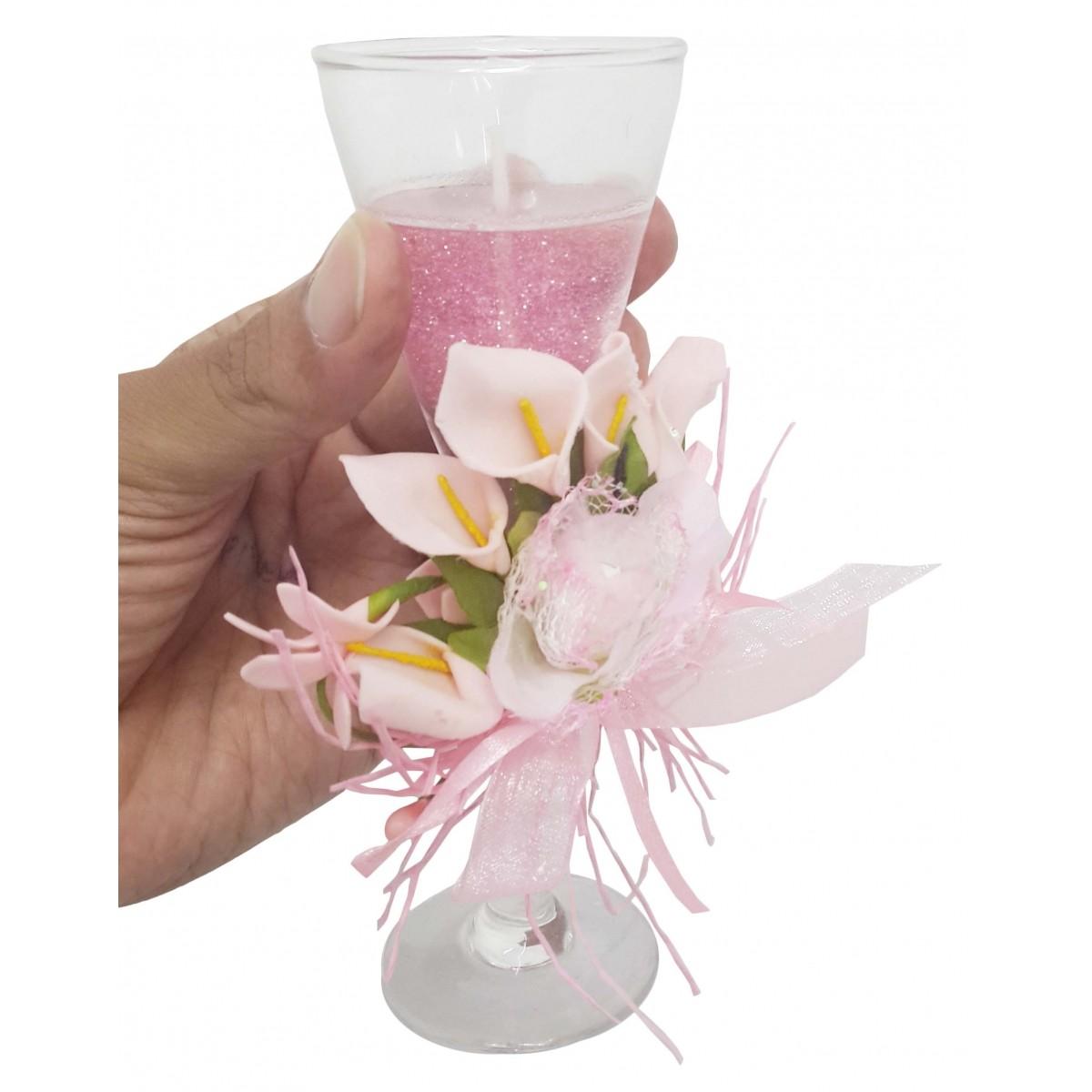 Vela Decorativa Mini Festas Casamento 15 Anos Flor Rosa ML 10 Unid (WL-C)