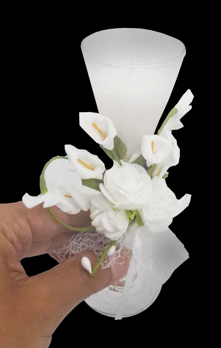 Vela Para Decoracao Mini 15 Anos Branca Flor Festa Kit 15 Unid