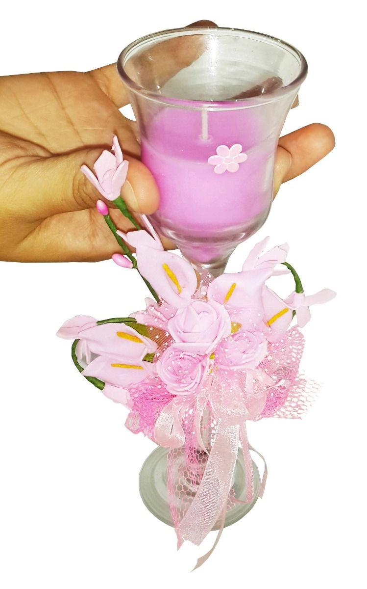 Vela Parafina Decora Mesa Festa Media Flor Rosa Kit Com 15