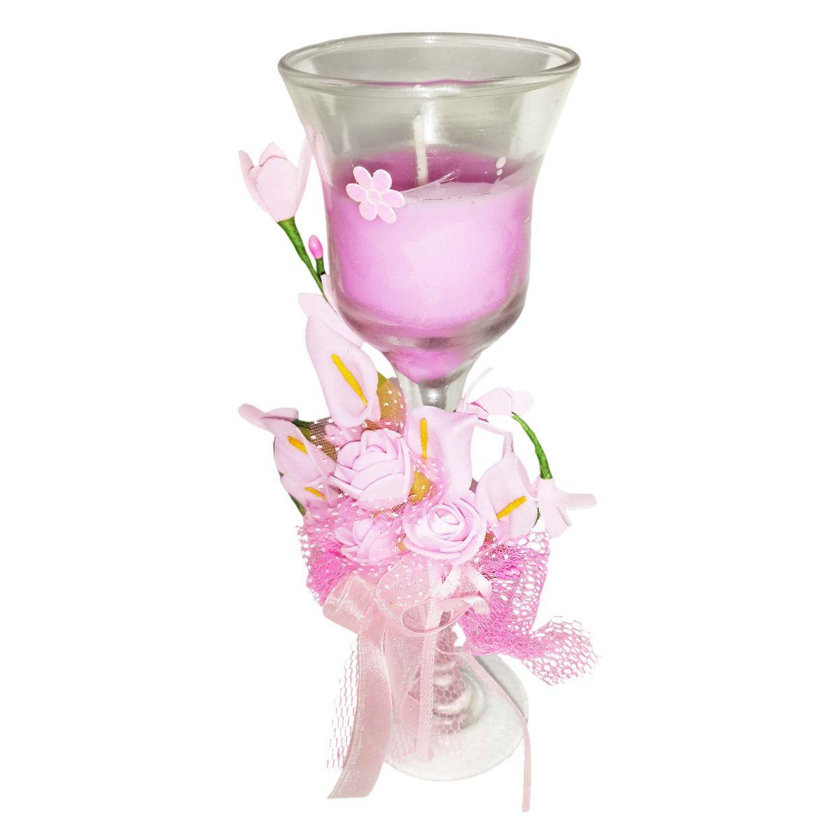 Vela Parafina Perfumada Decorativa Media Fragrancia Flores Rosa (WL-B)