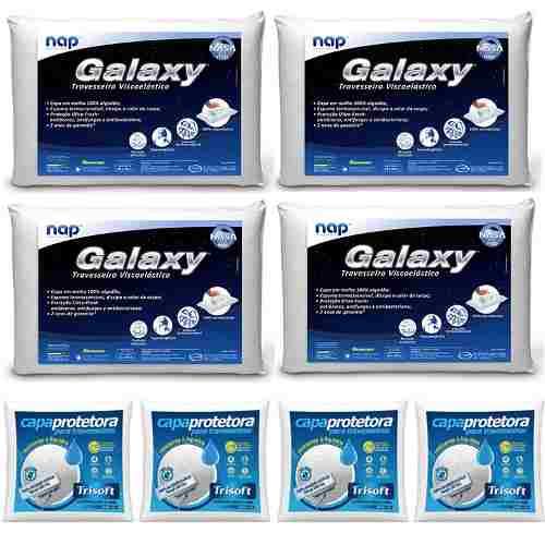 Kit 4 Travesseiros Nasa Galaxy + 4 Capas Impermeáveis em Percal 200 Fios