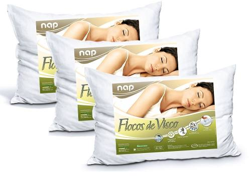 Kit Travesseiros Nasa Nap Flocos de Visco - 3 Peças