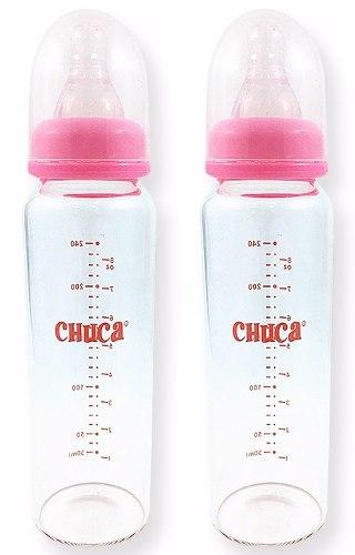 Kit 2 Mamadeiras Vidro 240ml Chuca Baby Rosa + 2 Bicos