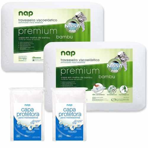Kit 2 Travesseiros Nap Premium Bambu 14cm + 2 Capas Protetoras