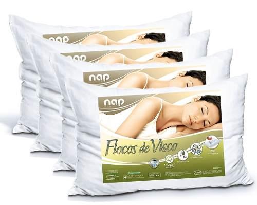 Kit Travesseiro Nasa Nap Flocos de Visco - 4 Peças