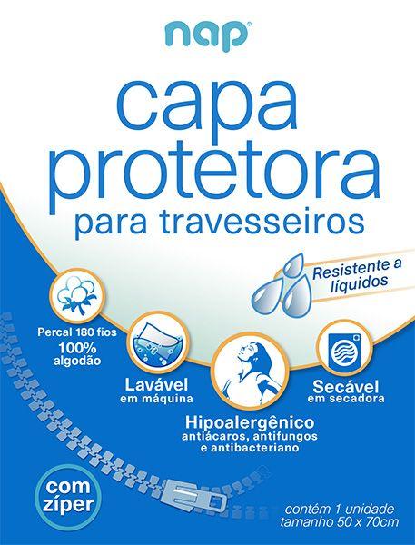 Kit Capa Protetora de Travesseiro Impermeável e Antiácaros Nap - 3 Peças
