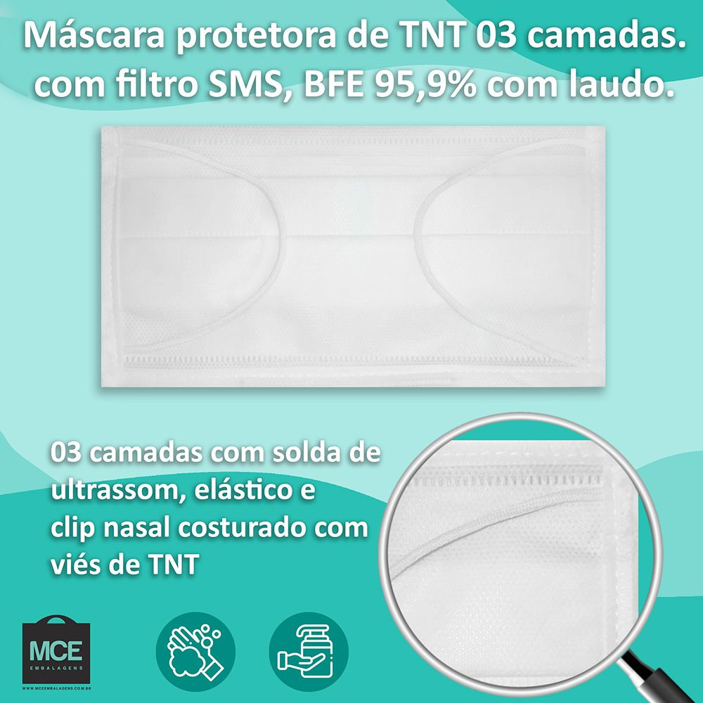 Kit 100 Máscara Descartável Tripla TNT Filtro SMS + clip nariz