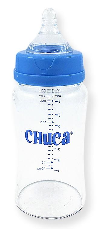 Kit 2 Mamadeiras Vidro 220ml Bico Silicone Chuca Baby - Azul