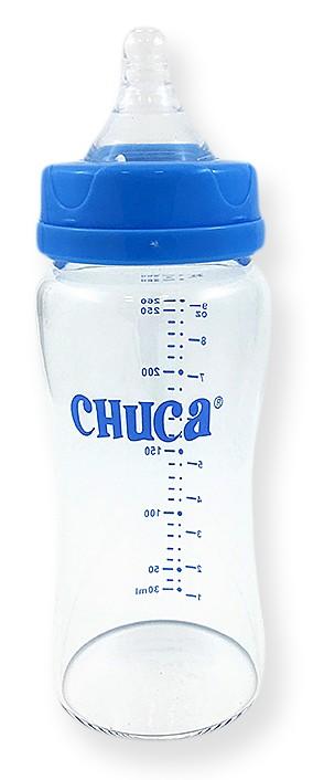 Kit 2 Mamadeiras Vidro com Bico Silicone Chuca Baby 220ml/260ml - Azul