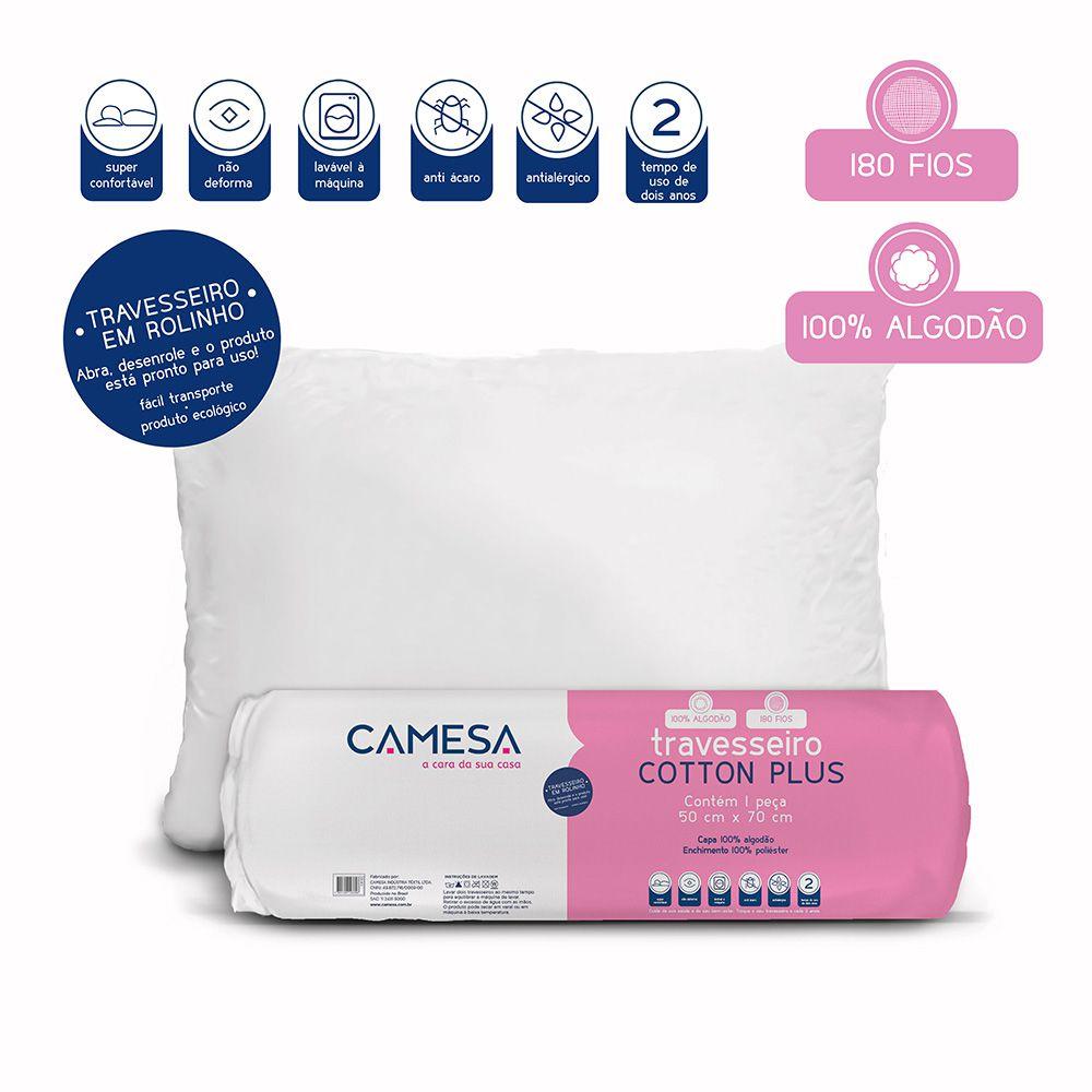 Kit 2 Travesseiros Cotton Plus Camesa Suporte Firme 180 fios