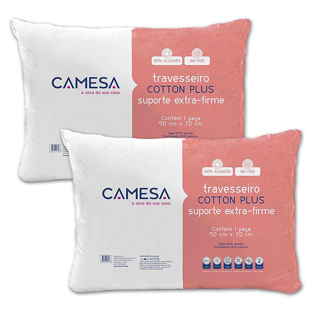 Kit 2 Travesseiros Cotton Plus Extra Firme 180 fios Camesa