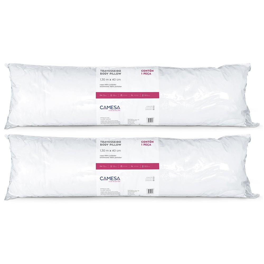 Kit 2 Travesseiros de Corpo Body Pillow 130x40cm Camesa