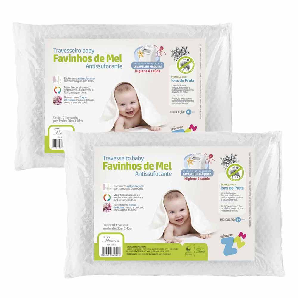 Kit 2 Travesseiros Favinhos de Mel Antissufocante Baby Fibrasca