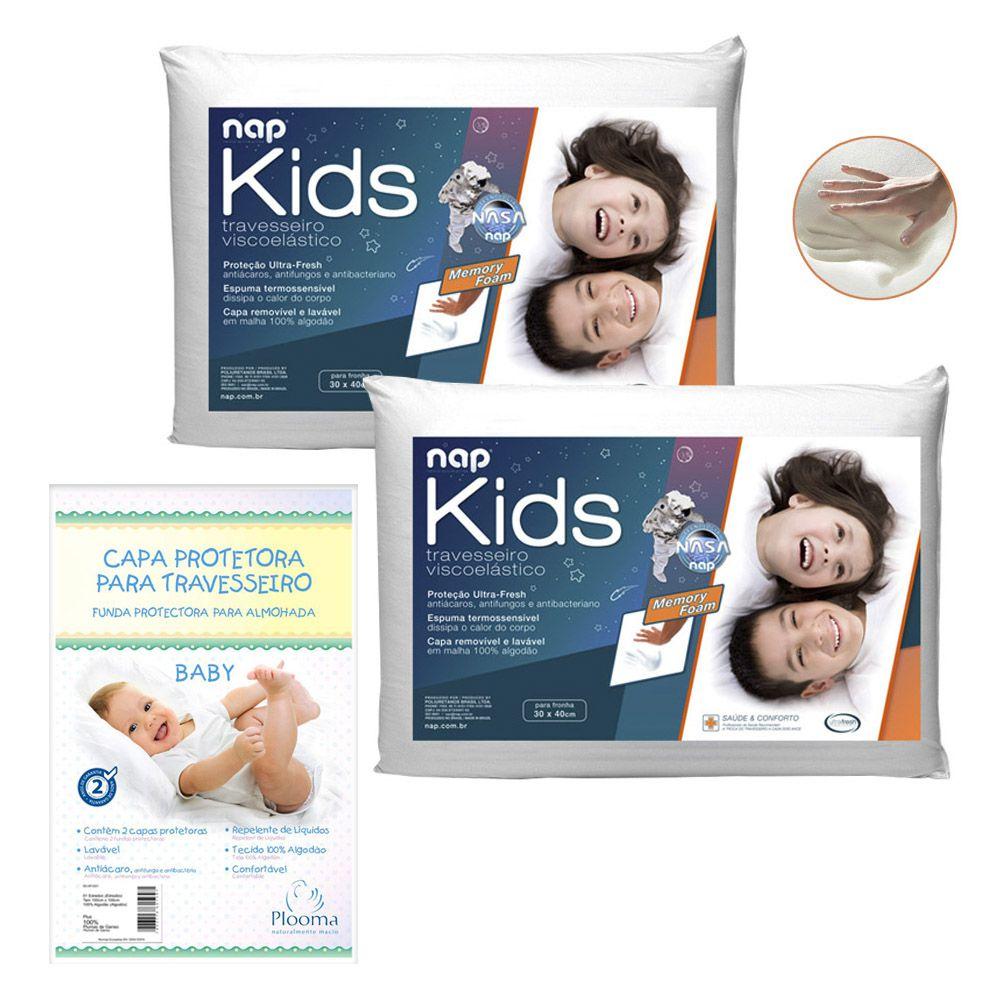Kit 2 Travesseiros Nasa Kids + 2 Capas Protetoras 30X40
