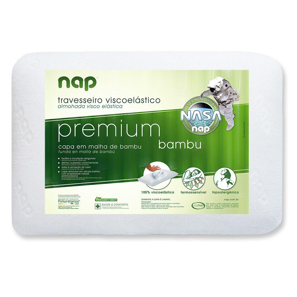 Kit 2 Travesseiros Nasa Nap Premium Bambu Hipoalergênico - Altura 15cm