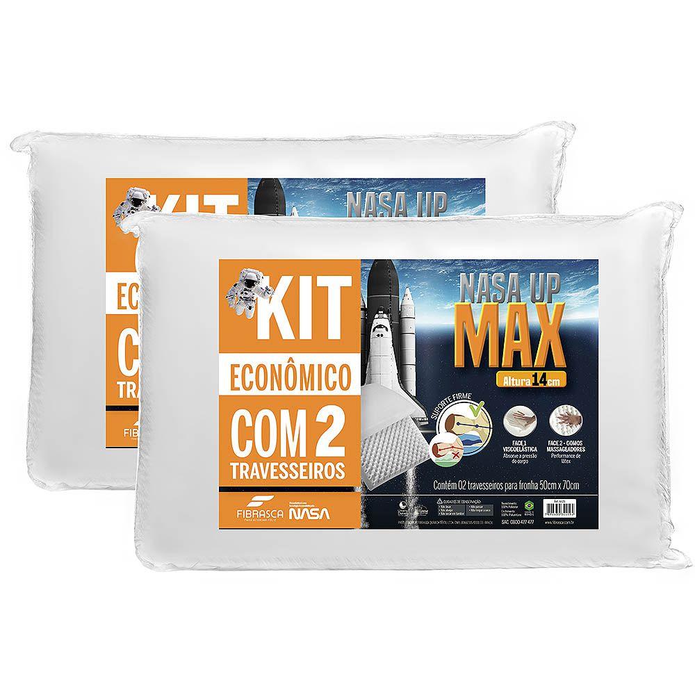 Kit 2 Travesseiros Nasa Alto UP Max Altura 14cm