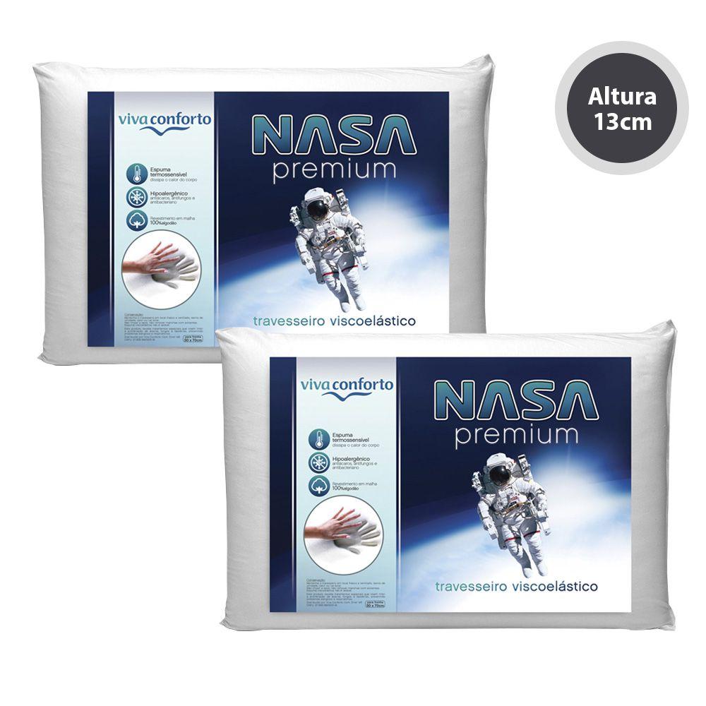 Kit 2 Travesseiros Nasa Viva Conforto - Altura 13cm