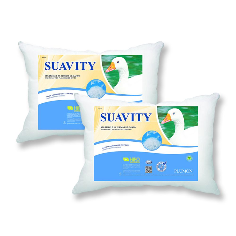 Kit 2 Travesseiros Plumon Suavity - Penas e Plumas de Ganso