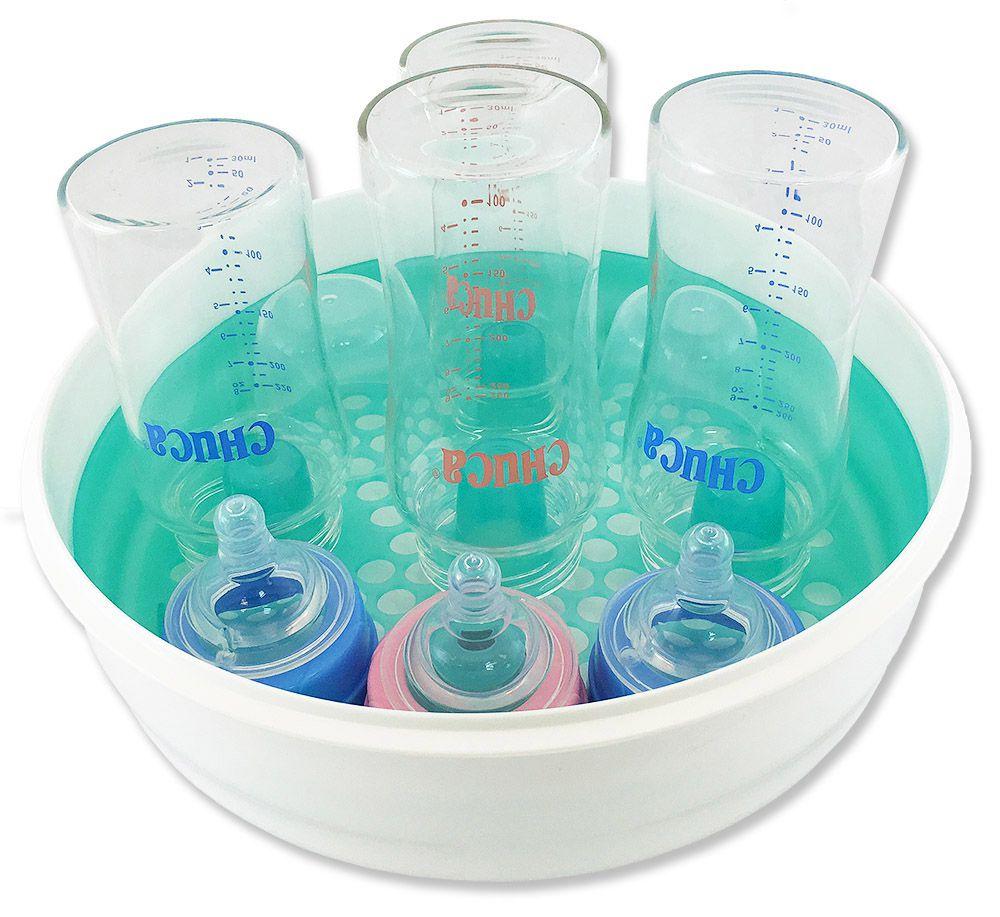 Kit 3 Mamadeiras de Vidro 220 240 260ml Azul + 1 Esterilizador Chuca Baby