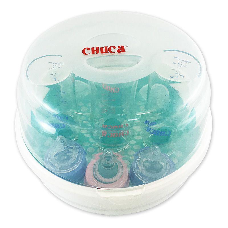 Kit 3 Mamadeiras de Vidro 220 240 260ml Rosa + 1 Esterilizador Chuca Baby