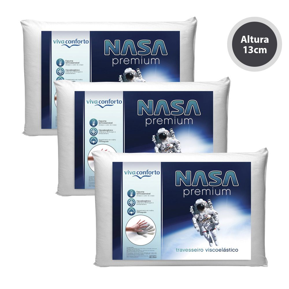 Kit 3 Travesseiros Nasa Viva Conforto - Altura 13cm