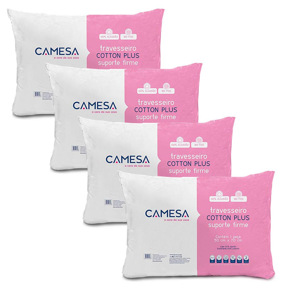 Kit 4 Travesseiros Cotton Plus Camesa Suporte Firme 180 fios