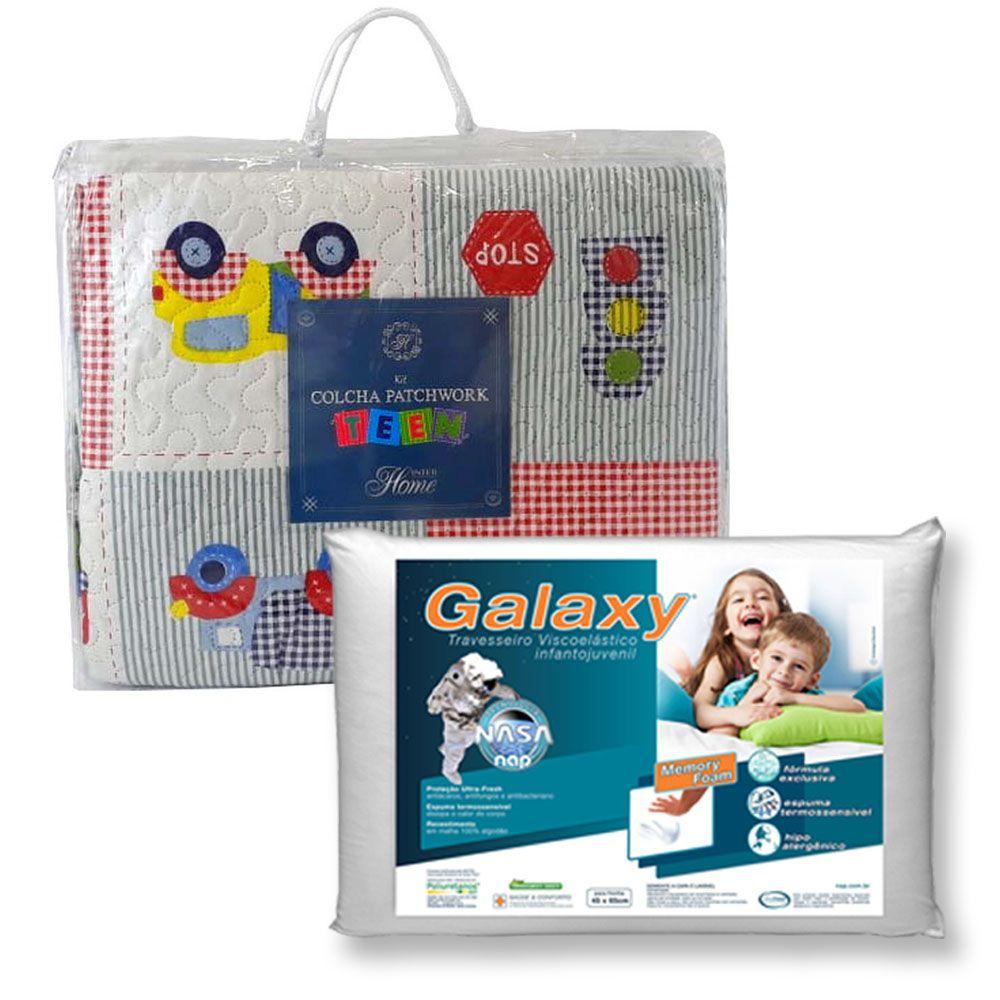 Kit Colcha Teen Carros + Travesseiro NASA NAP