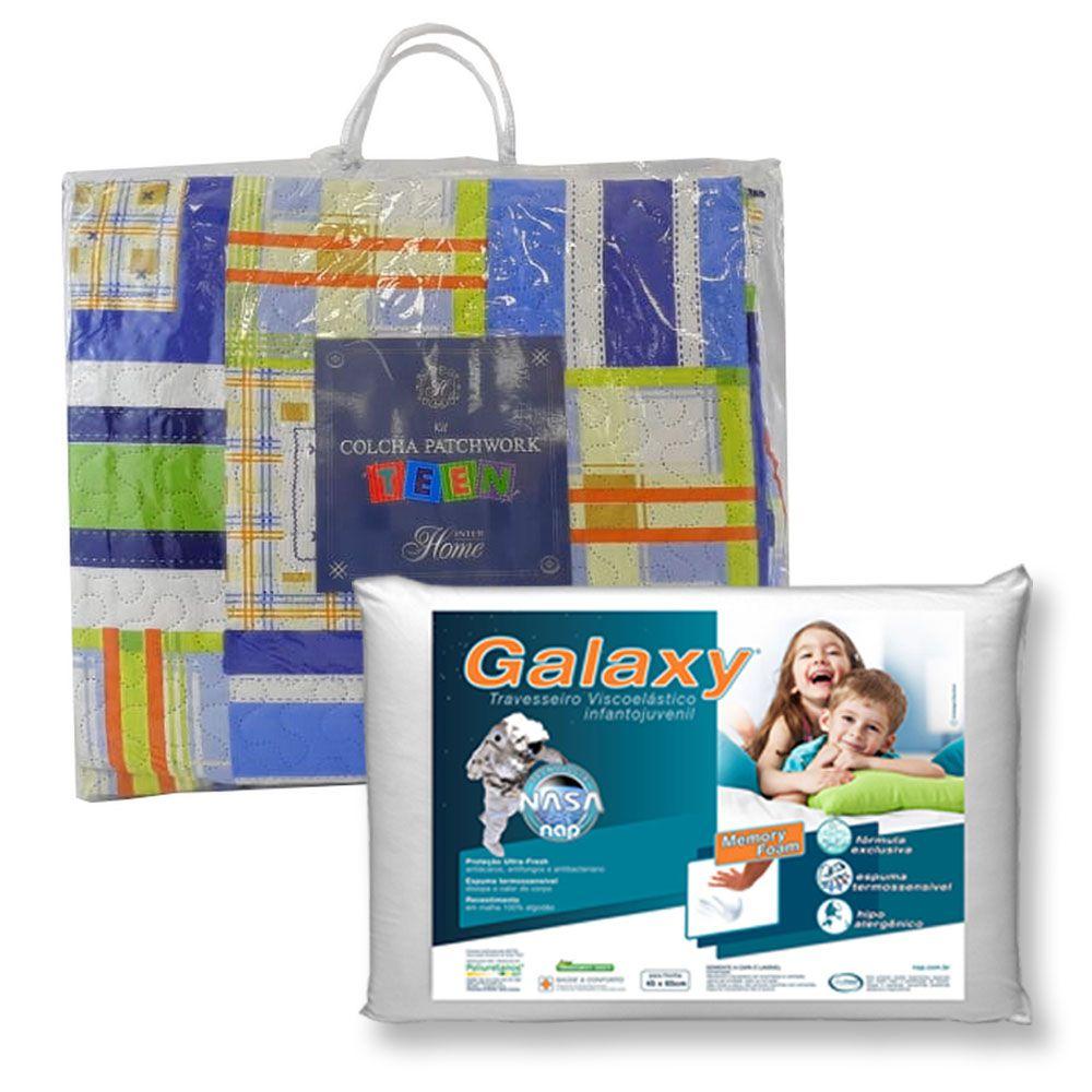 Kit Colcha Teen Sport + Travesseiro NASA NAP