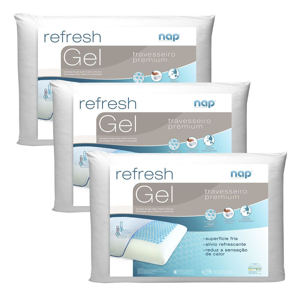 Kit Travesseiros Nasa Nap Refresh Gel - 3 Peças
