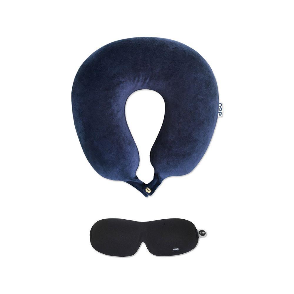 Kit Viagem Travesseiro Space Travel Azul Marinho + NAP Sleep Eye Mask