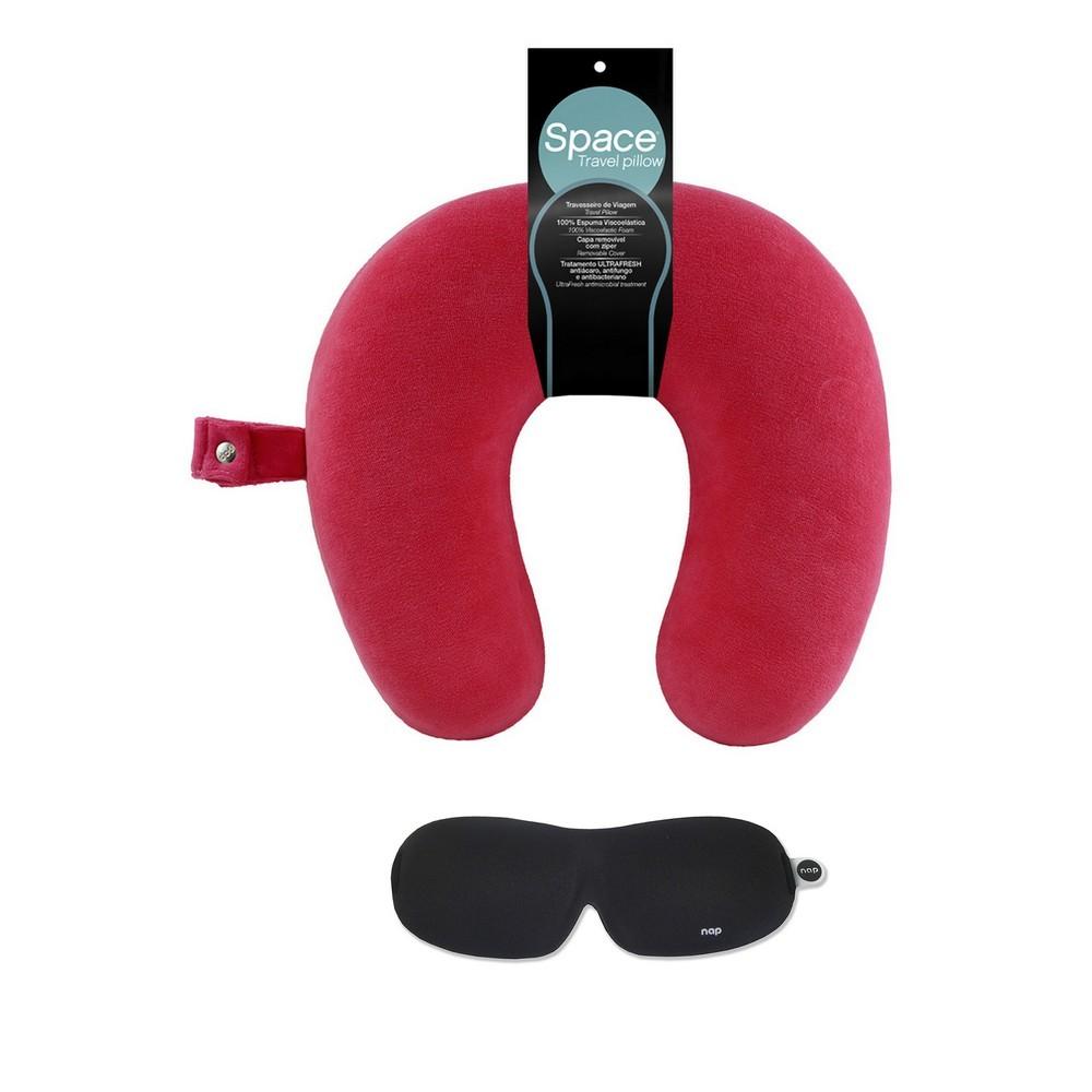 Kit Viagem Travesseiro Space Travel Rosa + NAP Sleep Eye Mask