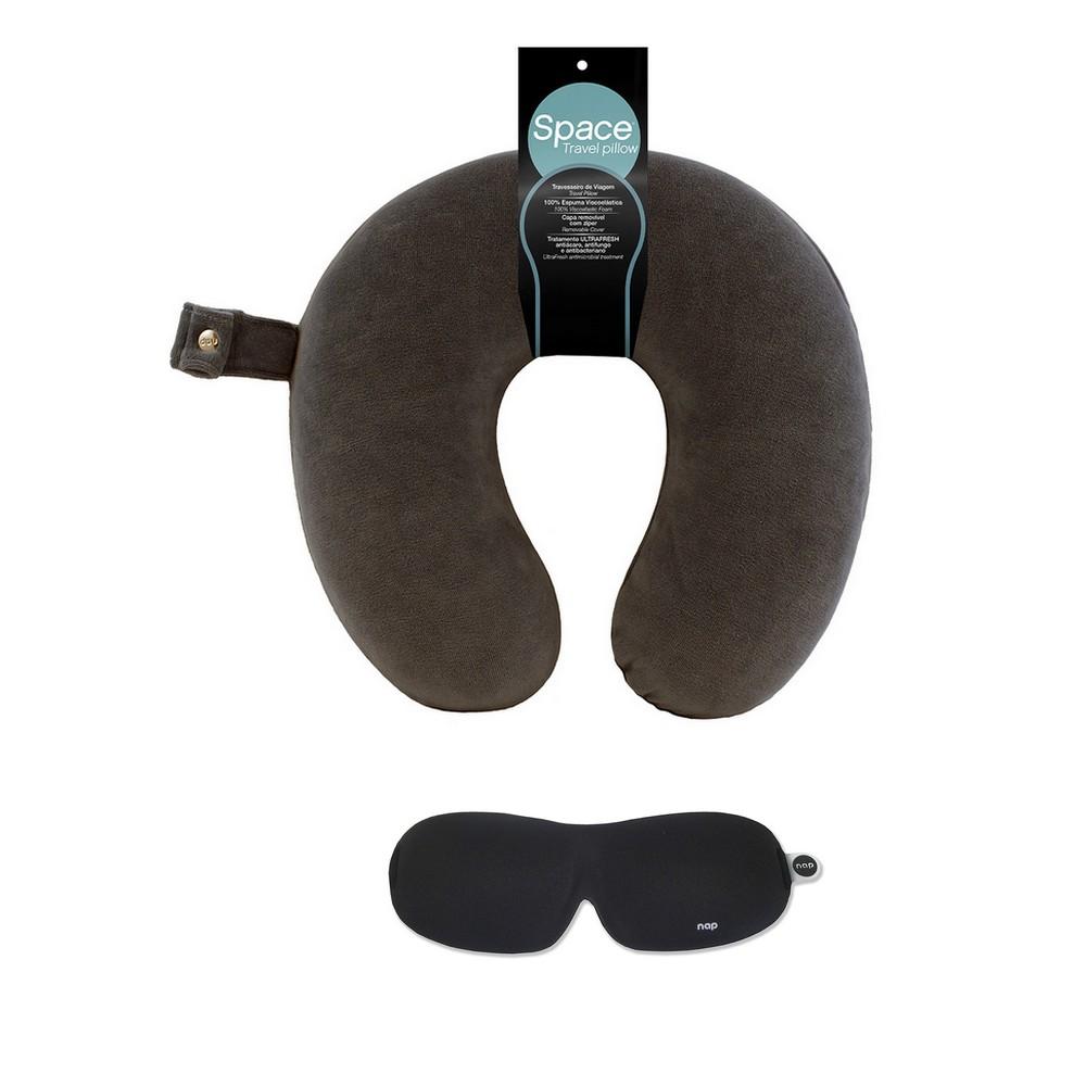 Kit Viagem Travesseiro Space Travel Titânio + NAP Sleep Eye Mask