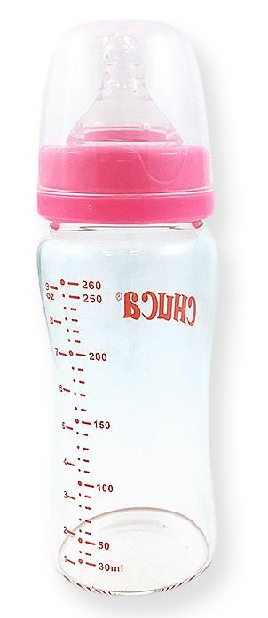 Mamadeira de Vidro 260ml com Bico de Silicone Chuca Baby