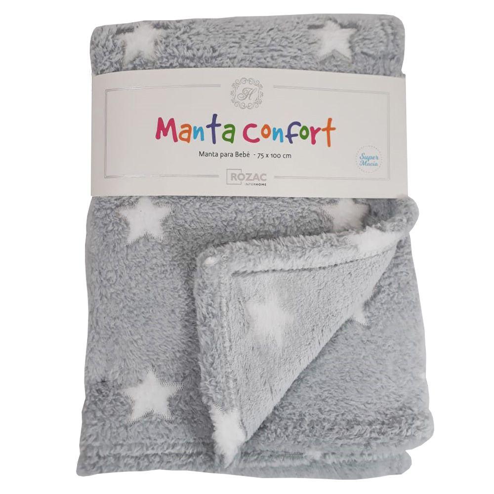 Manta Baby Confort Estrelas - Branca e Cinza 75x100cm Rozac