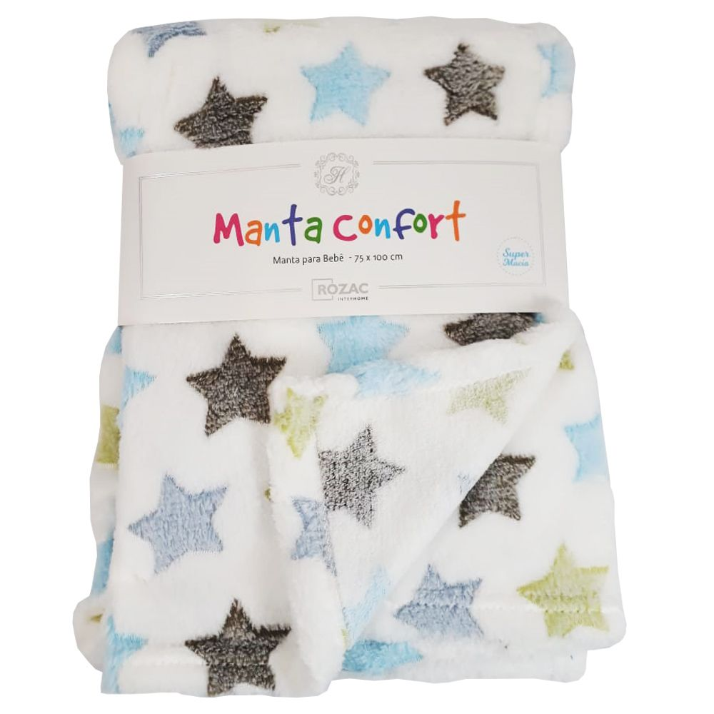 Manta Baby Confort Estrelas Coloridas  75x100cm Rozac