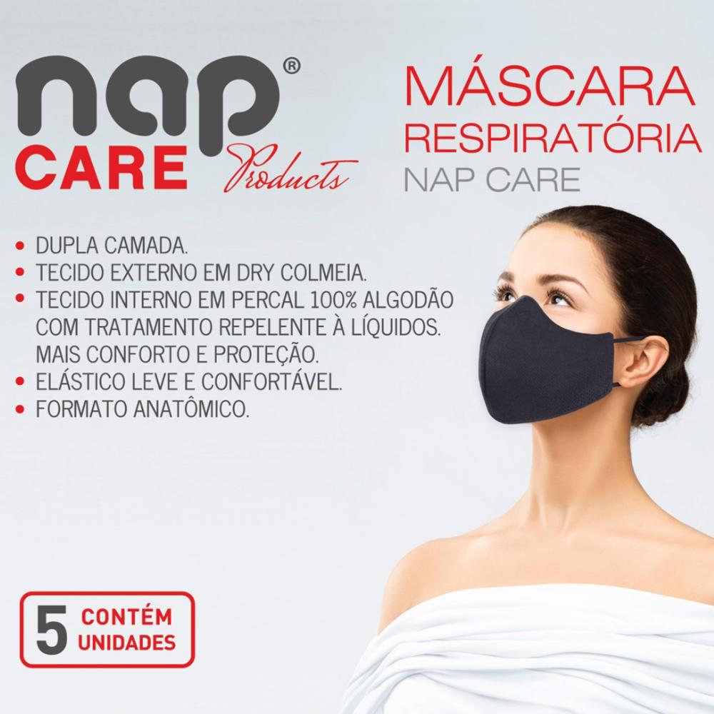 Máscara de Proteção Reutilizável Dupla Camada Lavável Kit 5peças - Nap Care