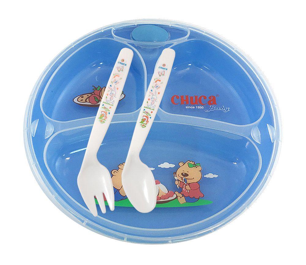 Prato Térmico Infantil de 3 Divisões com Ventosa Chuca Baby
