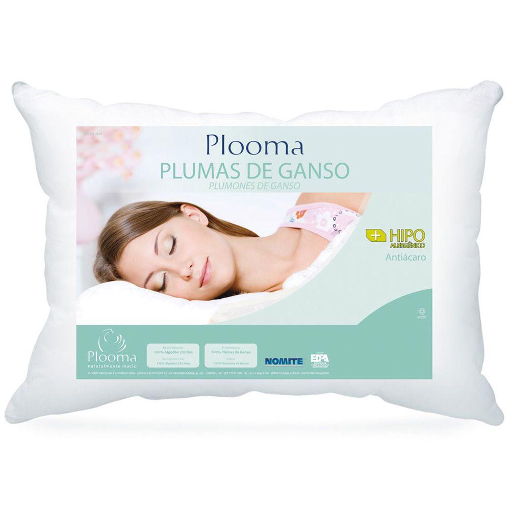 Travesseiro 100% Plumas de Ganso Plooma + Capa Protetora Plooma