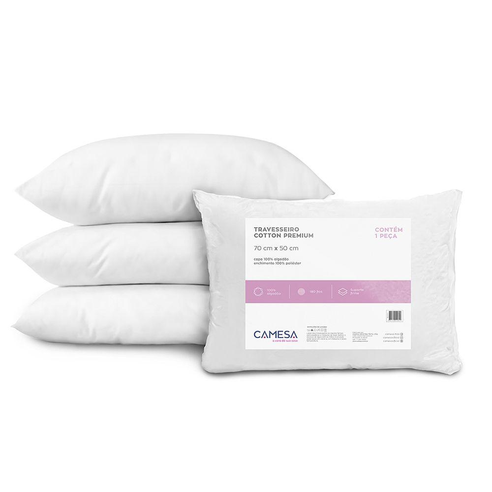 Travesseiro Cotton Premium 180 Fios Suporte Firme Camesa