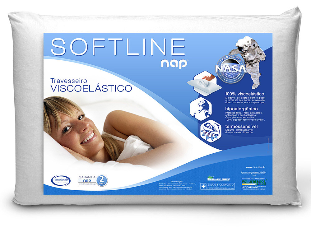 Travesseiro Nasa Nap Softline - Altura 14cm - Toque Macio
