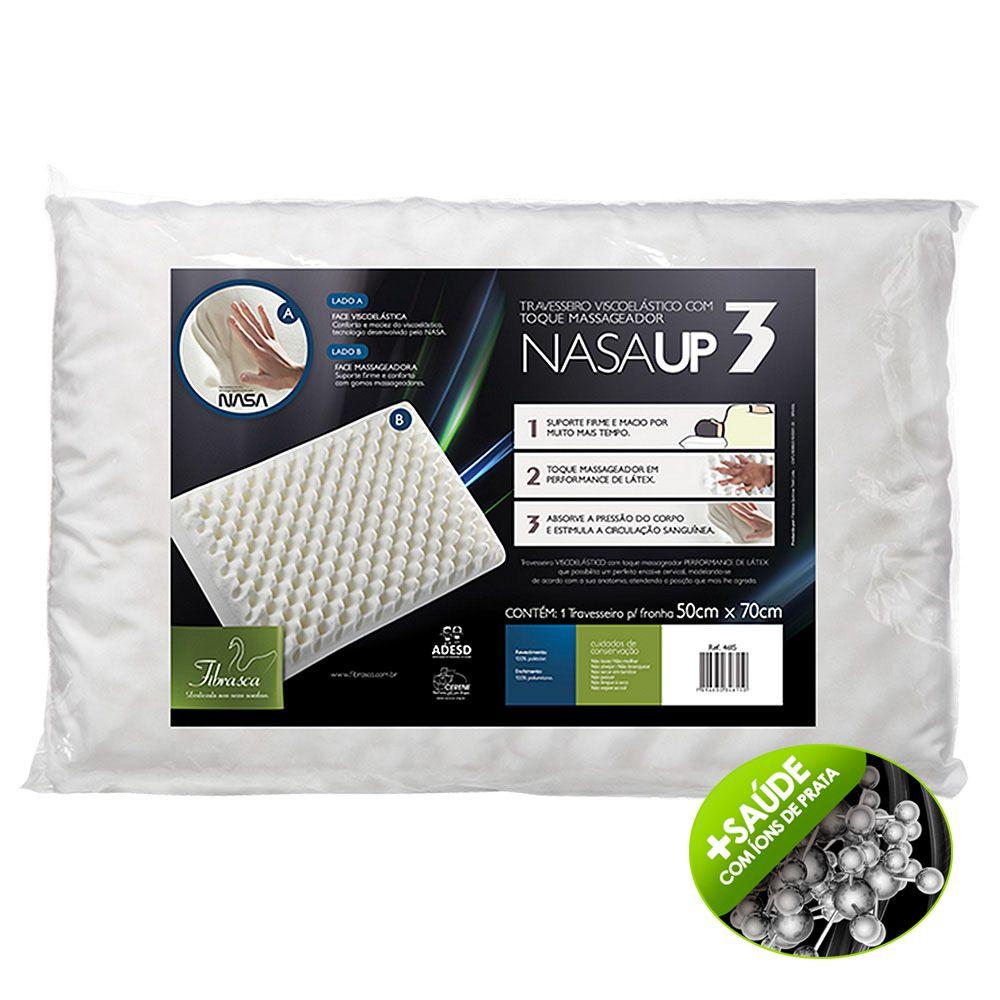 Travesseiro Nasa Up3 Viscoelástico capa Íons de Prata - Fibrasca