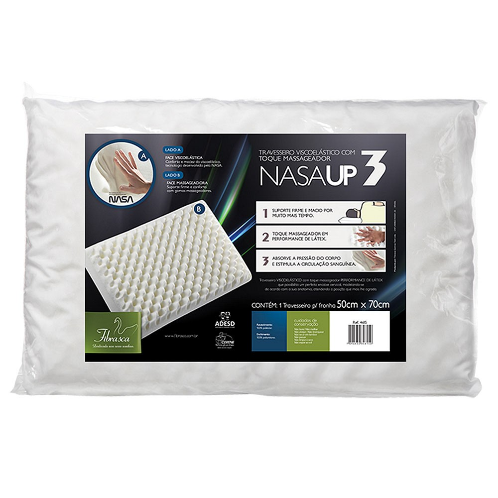 Travesseiro Nasa Up3 Viscoelástico com gomos massageadores, Antiácaro - Fibrasca