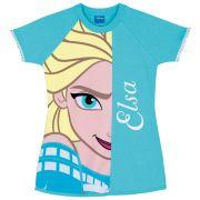 Camisola Feminina Infantil Lupo Manga Curta Azul Frozen Elsa 100% algodão