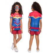 Pijama Fantasia Feminino Curto Veggi Mulher Maravilha com Máscara