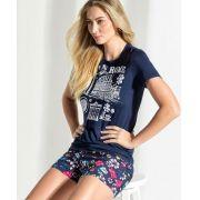 Pijama Feminino Adulto Blusa com Shorts Estampa Roma em Modal com Viscose